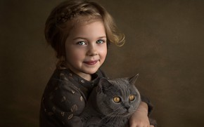 Picture cat, look, face, smile, background, mood, girl