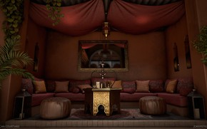 Picture hookah, mirror, the room, Moroccan Courtyard, puffs