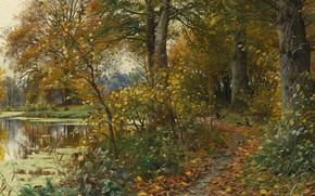 Picture autumn, leaves, landscape, nature, river, picture, path, Peter Merk Of Menstad, Peder Mørk Mønsted, Charlottenlund …