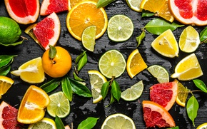 Picture lime, fruit, lemons, orange, the grapefruit, slices, citrus, background, Mandarin
