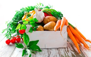 Picture greens, leaves, Board, white background, pepper, box, vegetables, tomatoes, carrots, bokeh, garlic, potatoes, zucchini