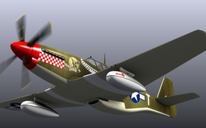 Picture Mustang, model, Blender 3D, P51B