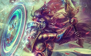 Wallpaper girl, hair, beauty, sword, shield, warcraft, wow, art, world of warcraft, armor, paladin, draenei