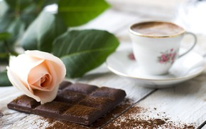 Picture rose, coffee, Chocolate