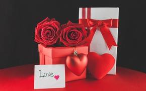 Picture red, love, romantic, hearts, valentine's day, gift, roses, red roses