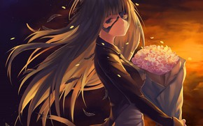 Picture girl, flowers, bouquet, the evening, cyborg
