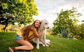 Picture greens, summer, grass, girl, the sun, trees, nature, pose, smile, shorts, dog, makeup, Mike, hairstyle, …