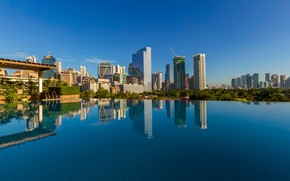 Picture roof, the sky, water, the sun, trees, the city, reflection, the building, home, pool, Philippines, …