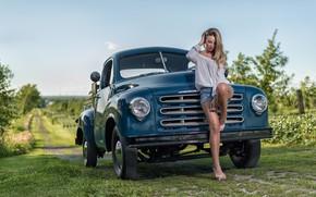 Picture machine, girl, pose, shorts, truck, Studebaker