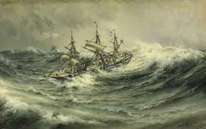 Wallpaper A ship in a storm, Black water., To live is celebrate, Herman Gustav Sillen, seascape