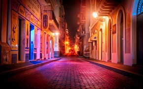Wallpaper Puerto Rico, lights, night, street, lights, home, road, San Juan, the sidewalk