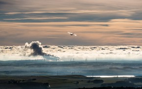 Picture landscape, nature, fog, the evening, valley, windmills, the plane