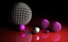 Wallpaper balls, balls, red background