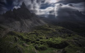 Wallpaper clouds, rocks, night, mountains, light, the moon