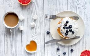 Picture berries, Breakfast, blueberries, honey, pancakes, wood, grapefruit, cocoa, breakfast