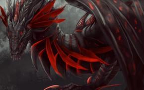Wallpaper look, red, dragon, wings, paws, fantasy, art