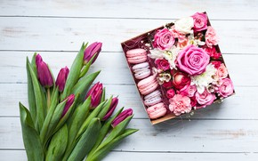 Picture Flowers, Tulips, Roses, Box, Cookies