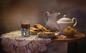 Picture tea, kettle, pancakes, jam