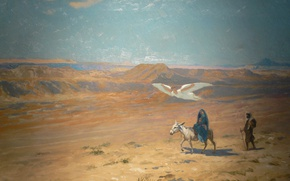 Picture mythology, Jean-Leon Gerome, The flight into Egypt, picture, angel