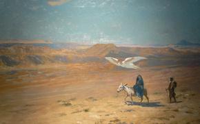 Wallpaper mythology, Jean-Leon Gerome, The flight into Egypt, picture, angel