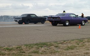 Picture Mustang, Ford, Dodge, Charger, Racing, Barracuda, Musclecar, 1966, Cuda, Racetrack, 1966 Mustang