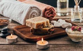 Picture stones, towel, Candles, soap, Spa, sea salt