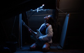 Picture girl, music, mood, guitar