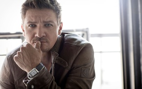 Wallpaper photoshoot, AugustMan, Sarah Dunn, actor, Jeremy Renner, hand, Jeremy Renner, watch, jacket, look, pose, portrait