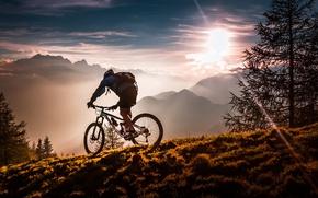 Wallpaper mist, sport, mountains, fog, athlete, sun, bike, meadow, forest, clouds, man, sky, Mountain bikes, twilight, ...