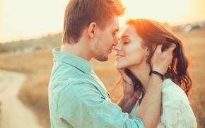 Picture girl, the sun, love, joy, mood, feelings, hands, hugs, pair, guy