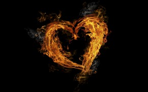 Picture background, fire, flame, heart, smoke, fire, heart, burning