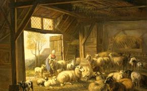 Wallpaper animals, oil, picture, canvas, Jan van Ravenswaay, Sheep and Goats in the Barn