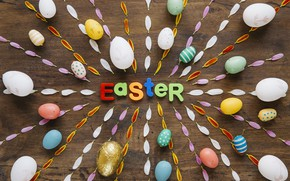 Wallpaper Easter, Petals, Holiday, Eggs, Letters