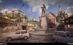 Picture the city, street, building, police, monument, cars, Uncharted 4, Madagascar City MP