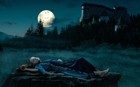 Picture night, castle, the moon, Apple, girl, snow white, Snow White, fairy tale