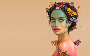 Picture girl, butterfly, art, Morgan Davidson, all eyes on you