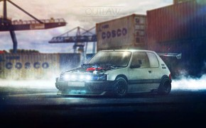 Picture Port, White, Rain, Peugeot, 205, Container, Outlaw, Cosco, Ned Souris, Peugeot 205