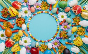 Picture balls, eggs, candy, Easter, Holiday, chrysanthemum