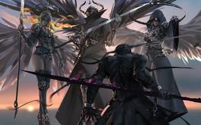 Wallpaper Girls, Figure, Armor, Sword, Wings, Art, Art, Girls, Sword, Armour, Wings, Artist, Artist, WLOP