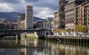 Picture bridge, river, home, Spain, Bilbao