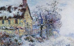 Picture winter, landscape, house, picture, Gustave Loiseau, Gustave Loiseau, Snow Effect in Port-zhua