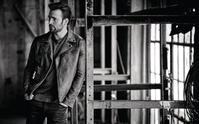 Wallpaper photo, jeans, Chris Evans, actor, InStyle, Chris Evans, jacket, black and white, Matthew Brookes