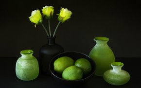 Picture roses, lime, still life