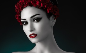 Picture style, portrait, retouching, black-and-red-and-white photo
