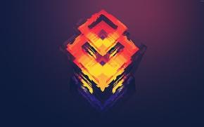 Picture purple, orange, red, minimalism, art, Abstraction, figure, rhombus, polygon