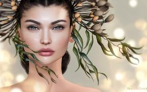 Picture girl, portrait, wreath