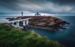 Picture sea, lighthouse, Spain, Galicia, Isla Pancha