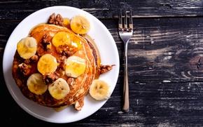 Wallpaper pancakes, honey, bananas, nuts, pancakes