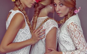 Picture look, girls, mood, dress, trio, braids, three girls, Trinity