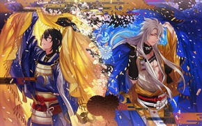 Picture pattern, armor, blanket, belt, art, samurai, Tayuya, Touken Ranbu, Mikazuki Munechika, Kogitsunemaru, long white hair, …